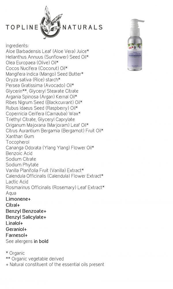 Scented Hand Cream Ingredients List 100ml bottle